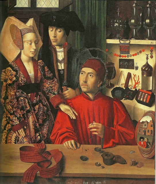 st.eloi - patron saint of jewelers    i wish my bench were as neat and tidy as his...    wood on panel  currently in the ny musse de art  made in flanders, petrus christus c.1449  aka st. eligus