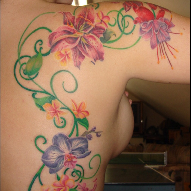 Flower Tattoo With Vines