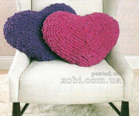 подушка сердце крючком