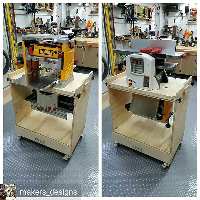 Check out this version of my Flip Top Tool Stand by @makers_designs. Jointer and planer all in one. Nice job, bro! If you want plans for this go to the link in my bio ☝. #readerproject #youbuiltthat #fixthisbuildthat