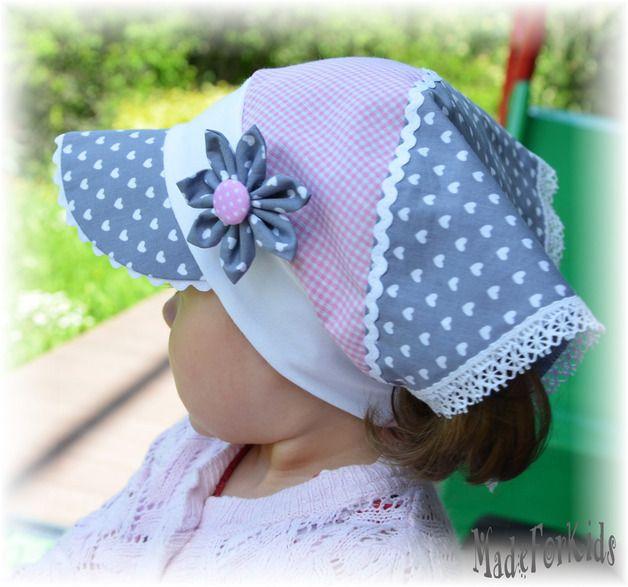 Kopftücher - ♥ Kopftuch mit Schild ♥ Herzchen Öko Tex / LSF - ein Designerstück von Blumenmadchen bei DaWanda