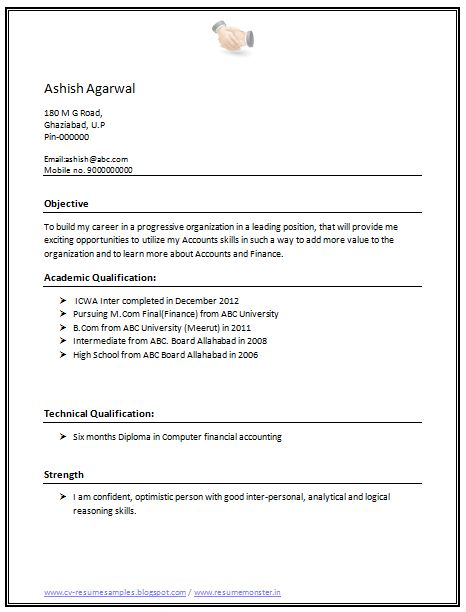 Professional Curriculum Vitae / Resume Template for All Job Seekers  Sample Template of a B.Com and M.Com Fresher Resume Sample, Professional Curriculum Vitae with Free Download in Word Doc (2 Page Resume) (Click Read More for Viewing and Downloading the Sample)  ~~~~ Download as many CV's for MBA, CA, CS, Engineer, Fresher, Experienced etc / Do Like us on Facebook for all Future Updates ~~~~