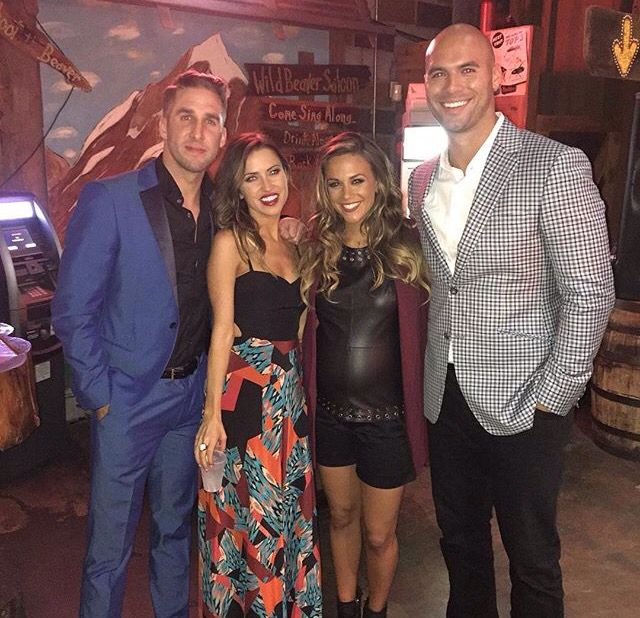 Jana Kramer and Mike Caussin with Shawn Booth and Kaitlyn Bristowe at the 49th Annual CMA Awards
