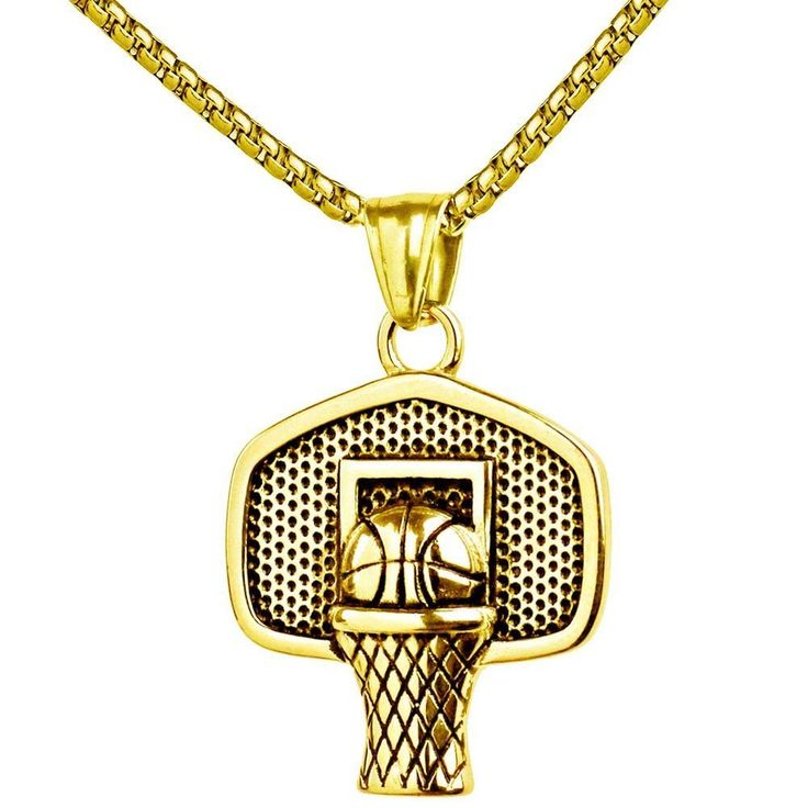 Basketball Pendant Sports Necklace Stainless Steel Chain Fitness Jewelry Gold #ChenHanjewelry