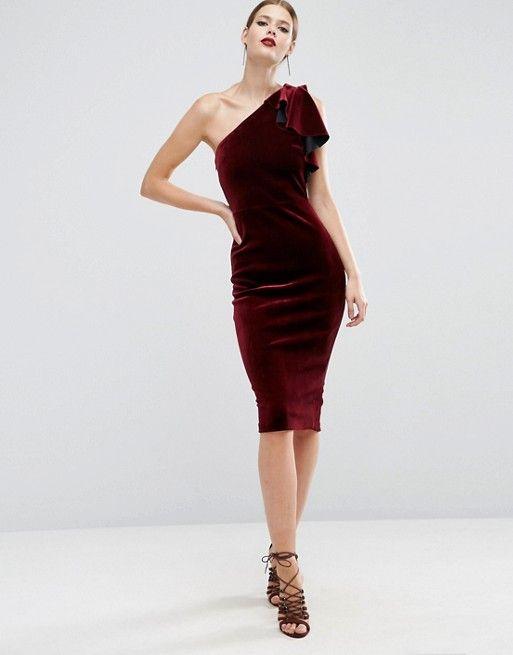 Turn heads in this Velvet One Shoulder Ruffle Midi Dress.