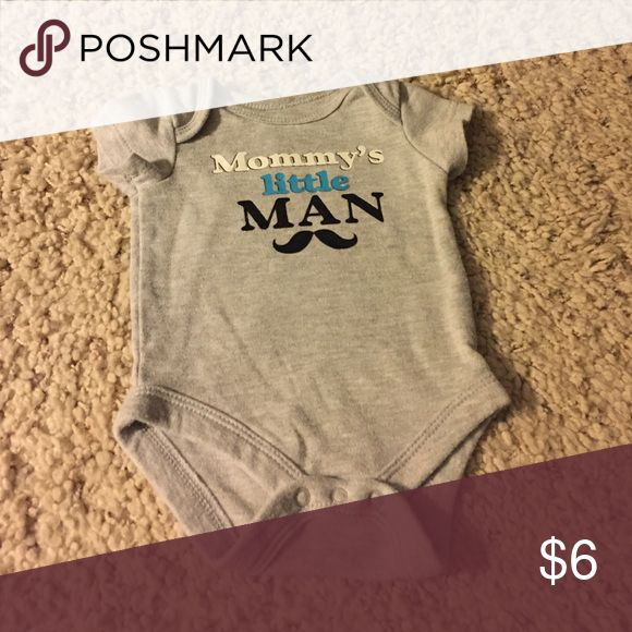 Mommy's little man bodysuit Mommy's little man grey short sleeve bodysuit One Pieces Bodysuits