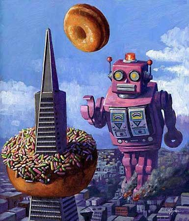 Robots and Doughnuts!!! Art by Eric Joyner