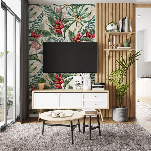Removable Wallpaper Watercolor Leaves Floral Peel And Stick Etsy Teal Wall Decor Art Deco Wallpaper How To Install Wallpaper