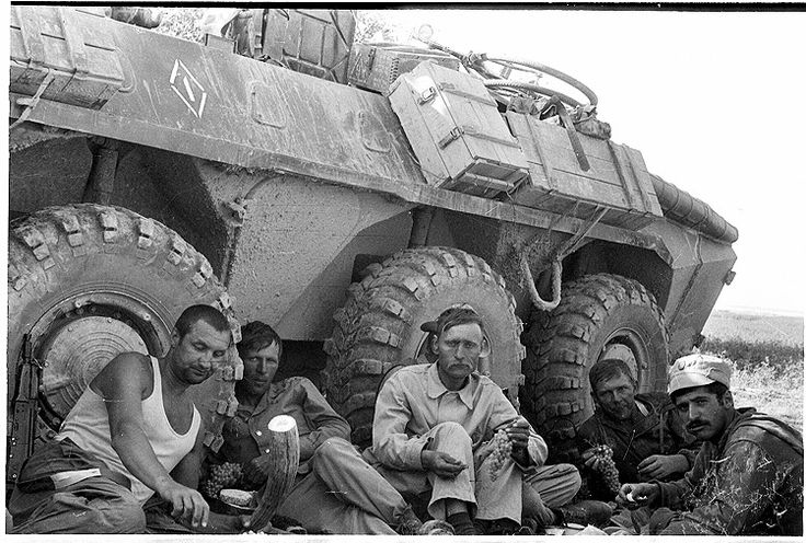 Russians, with BTR 8 wheeled carrier. Afghanistan