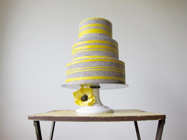 Cake Yellow Grey Weddingsgray
