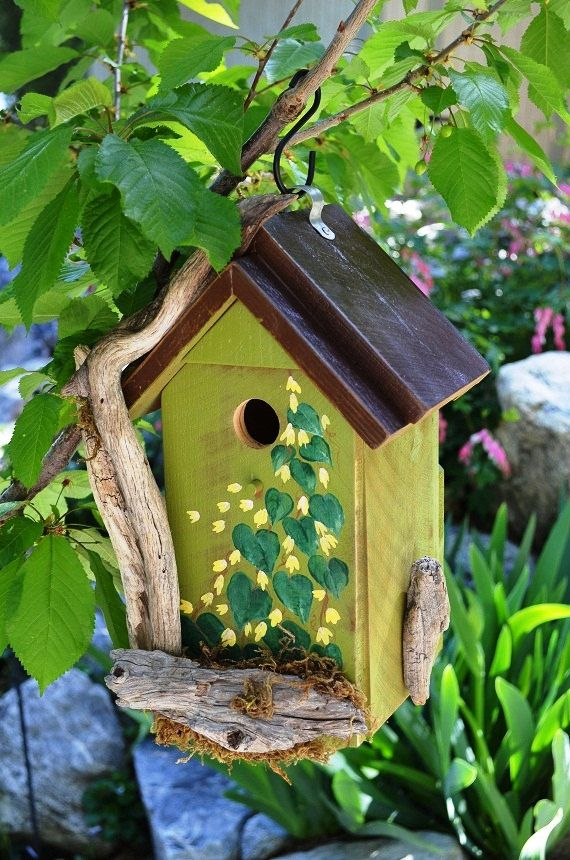 Birdhouse Rustic Driftwood Hand Painted Flowers Leaves