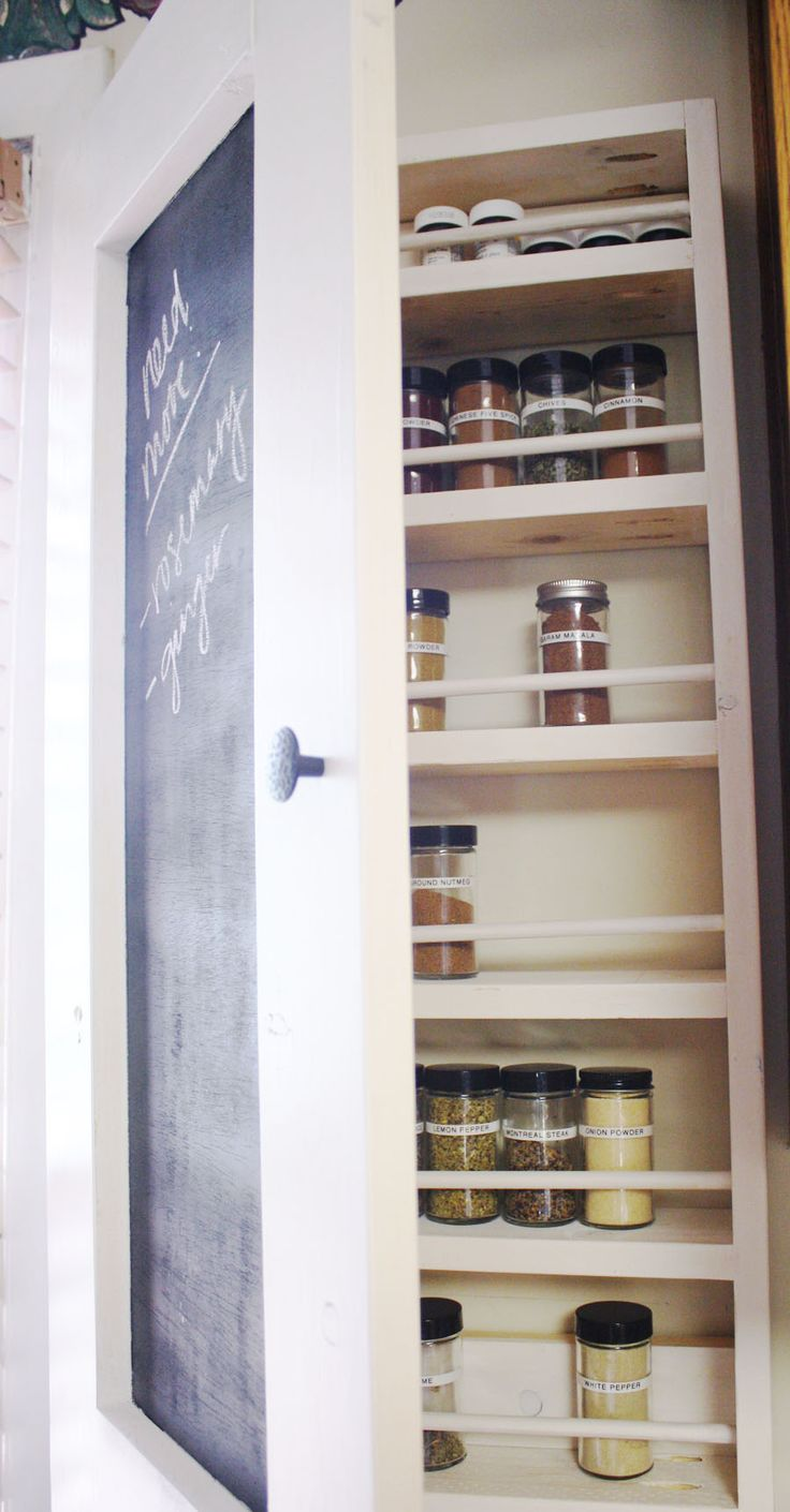 Jen shows you how to create a spice storage cabinet with a chalkboard front.