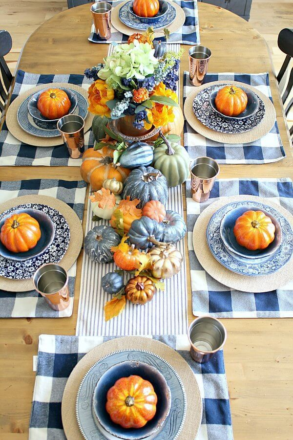 Copper And Navy Fall Farmhouse Tablescape Thanksgiving Table Decorations Thanksgiving Table Settings Thanksgiving Table Settings Diy