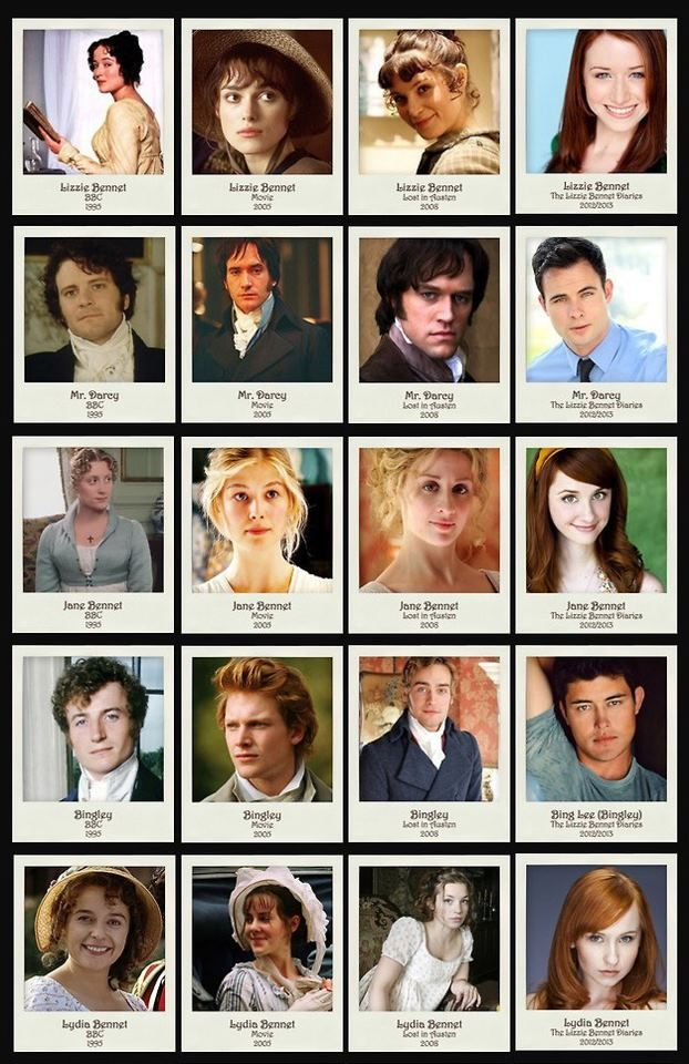 Film versions of Pride and Prejudice through the years...My favorite is The Lizzie Bennet Diaries and the BBC version.