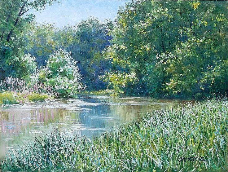 Simon Zoltán - Sunlight and peacefulness.  Oil - Wood fiber board   30 x 40 cm