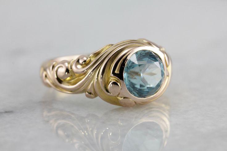 Art Nouveau tijdperk massief goud blauwe Zirkonia Ring scrollen voor hem of haar, mooi Design YZ1KCV-P door MSJewelers op Etsy https://www.etsy.com/nl/listing/468618539/art-nouveau-tijdperk-massief-goud-blauwe