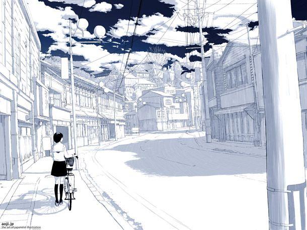 Au premier plan figure une jeune #écolière marchant à côté de son #vélo, dans une #ville typiquement #japonaise. L'aménagement des zones d'habitations des villes japonaises est reconnaissable par l'omniprésence des poteaux électriques et de leurs câbles, ainsi que par ses petites maisons collées les unes aux autres.