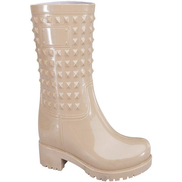 nude rubber studded accent casual knee high rain boots ($22) ❤ liked on Polyvore featuring shoes, boots, nude, rubber boots, knee high rubber boots, studded boots, wellington boots and studded rain boots