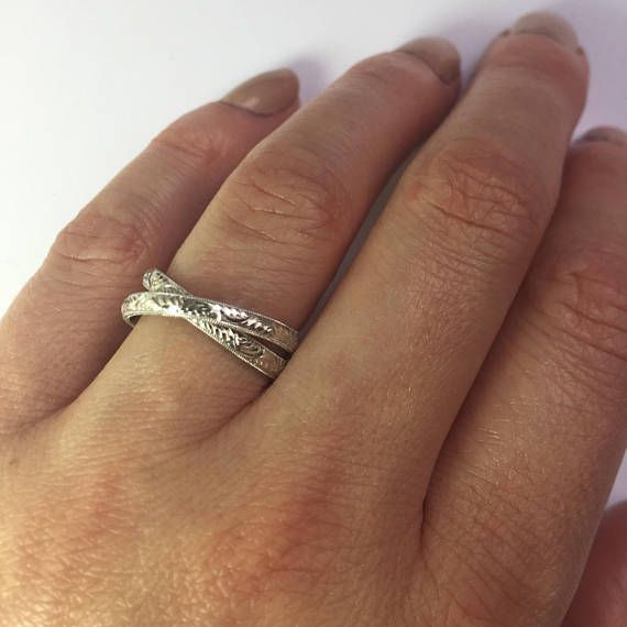 Two Rolling Rings Double Band Interlocking Two Gold Bands
