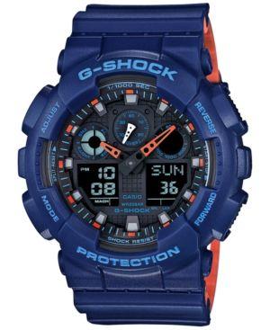 G-Shock Men's Analog-Digital Blue Resin Strap Watch 51x55mm GA100L-2A - Blue