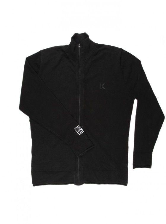 THE SPECTRE '63 - Black Cotton/Nylon long sleeve zip front cardigan