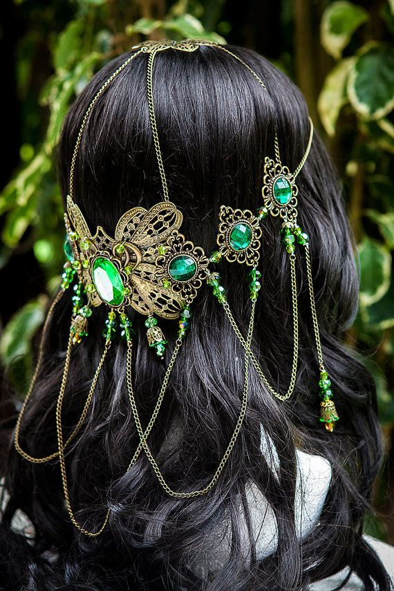 Beautiful handmade one of a kind emerald green coloured butterfly goddess circlet crown.