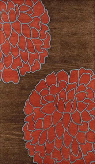 Brown And Red Floral Pattern Rug For Bedroom Living Room Dining Or
