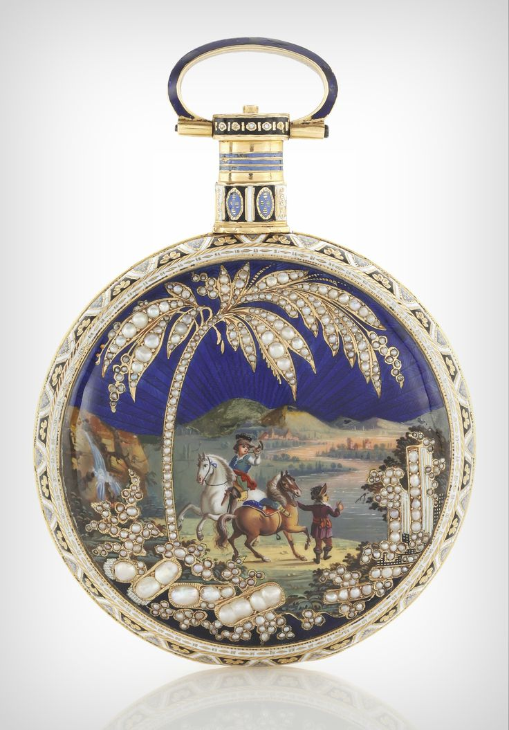 **Swiss, YELLOW GOLD, ENAMEL AND PEARL-SET CENTRE SECONDS WATCH MADE FOR THE CHINESE MARKET CIRCA 1820