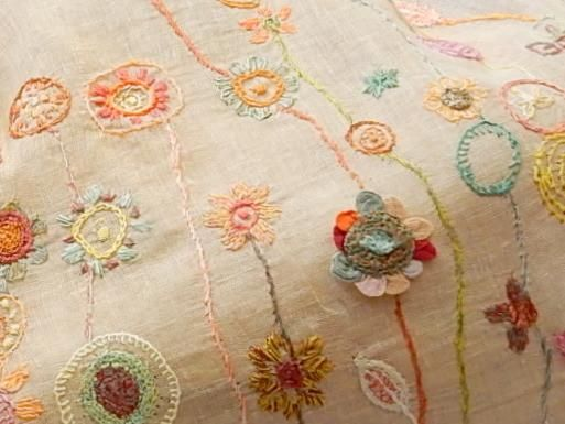 Linen voile with 14 inch deep borders embroidered in linen. From Sophie Digard. 18 x 60 inches. The backgroun is a medium sand color.