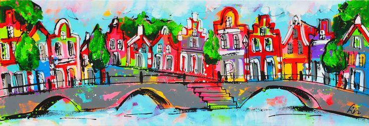 Kleurrijke grachten schilderij: Aan de gracht