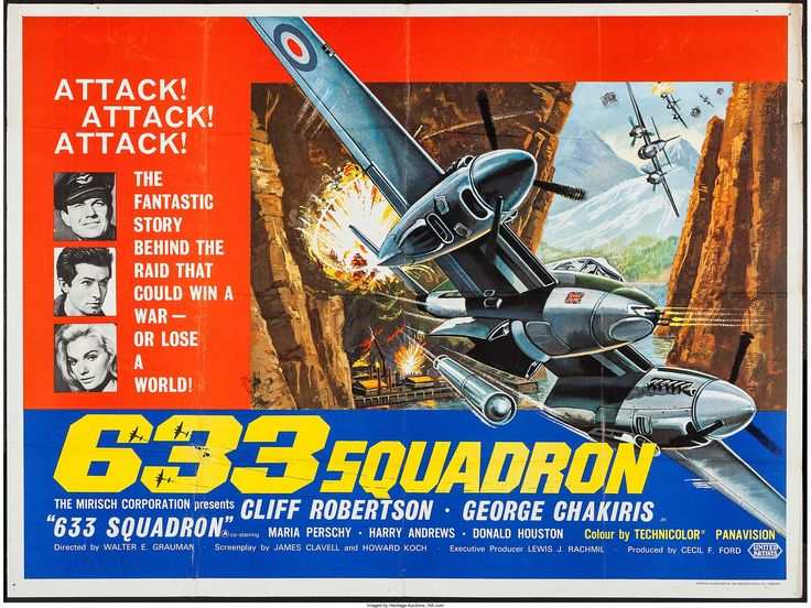 Cliff Robertson, George Chakiris and Maria Perschy in 633 Squadron. 1964