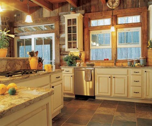 Log Home Painted Kitchen Cabinets