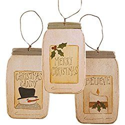 Mason Jar Wood Christmas Ornaments Set of 3 Primitive Rustic Country Believe, Christmas Candy, Merry Christmas
