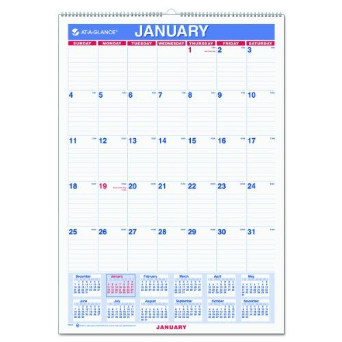 Wall Calendar. Displays one month at a time, with a full year calendar reference. Daily blocks are ruled for detailed notes. Julian dates. http://www.farmersmarketonline.com/a/calendars.htm