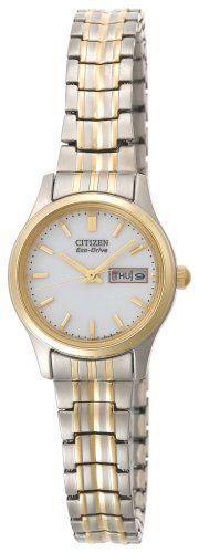 Citizen Women's EW3154-90A Eco-Drive Flexible Band Two-Tone Watch Citizen. $131.25. White dial with gold-tone hands and markers; day and date functions. Max power reserve: 180 days; low charge warning: 7 days; Quick start ability; charge time from stop state to max charge: Incandescent Light - 72 hrs, Outdoors, Cloudy (10,000 Lux) - 22 hrs, Outdoors, Sunny (100,000 Lux) - 11 hrs. Water-resistant to 99 feet (30 M). Light powered Eco-Drive Caliber E000 Japanese-quartz movement; c...