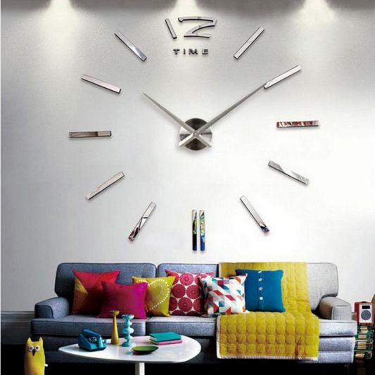 Home Decor | 2016 new arrival 3d home decor quartz diy wall clock clocks horloge watch living room metal Acrylic mirror 20 inch free shipping – US $8.98 – 13.37