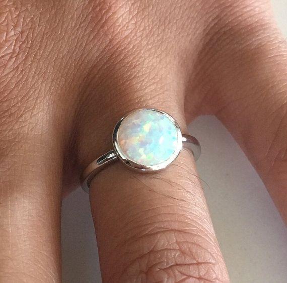 Sterling zilver wit lab opaal ronde ring, pinky ring, ring midi, knokkel ring, index ring, duim ring, ingerichte ring, belofte ring, trouwring, October birthstone