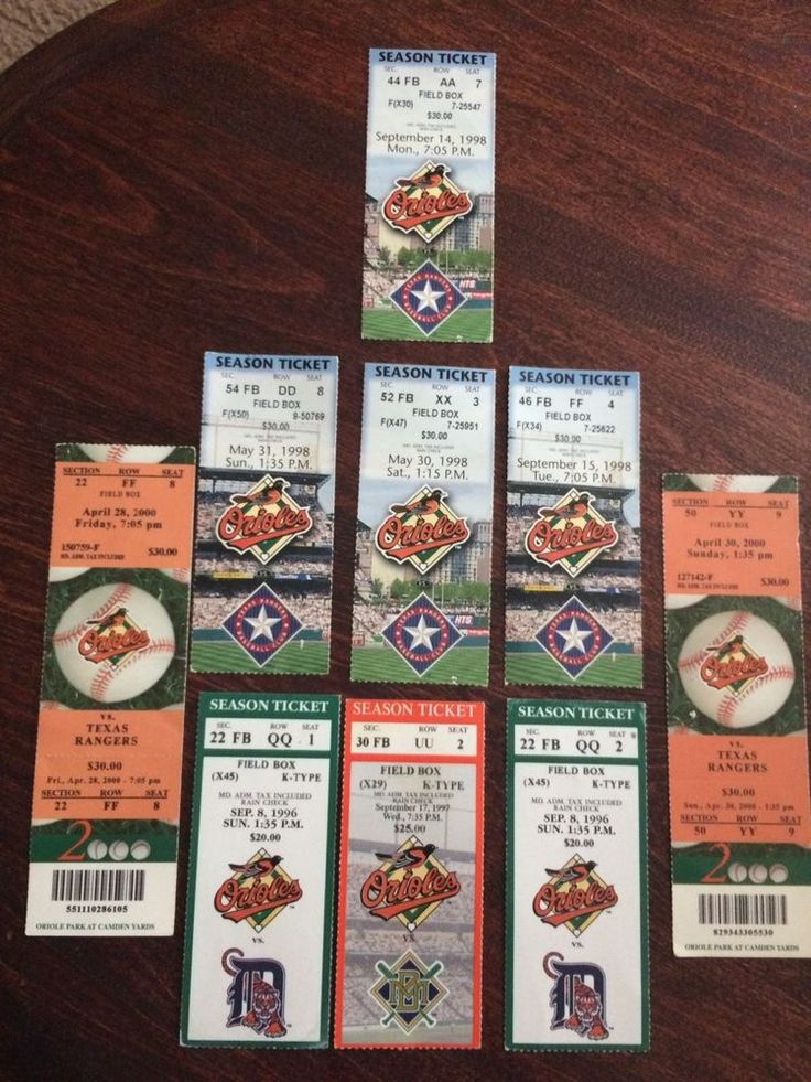 Baltimore Orioles Ticket Stub Lot Of 9