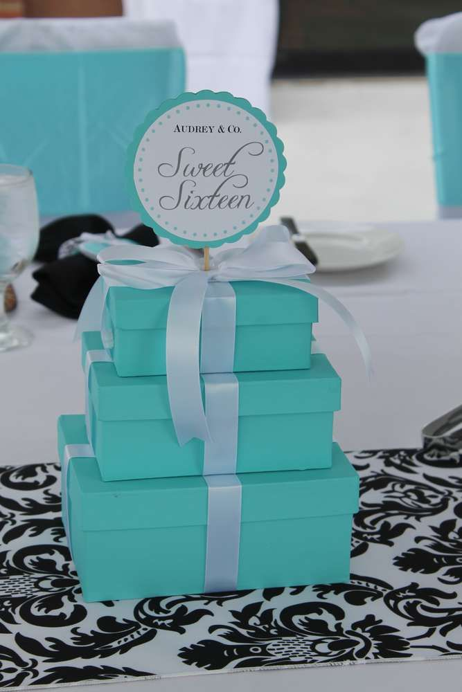 Breakfast at Tiffany's Sweet 16 birthday party! See more party planning ideas at CatchMyParty.com!