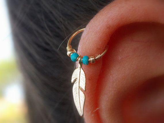 Piercing orecchino di piuma tribale della di mypiercingshop