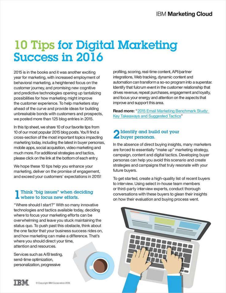 10 Tips for Digital Marketing Success in 2016, Free IBM