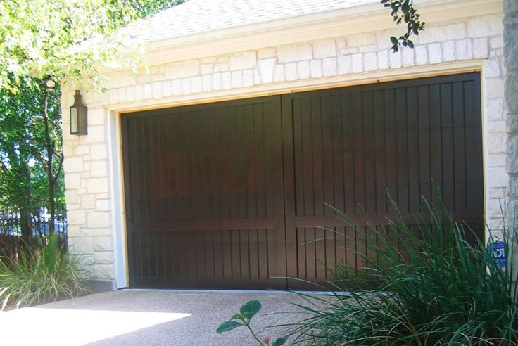 Dark Walnut Stain On Custom Wood Garage Door Downtown