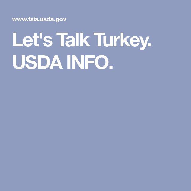 Let's Talk Turkey. USDA INFO.  MINMUM Internal temp. 165°