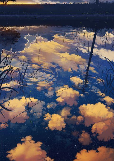 浅い池のような、稲の無い田んぼのような、あの場所が好きです。  この時期は特に       ちょうど一年前くらいに描いた絵の続編、天地逆?verです。http://www.pixiv.net/memb