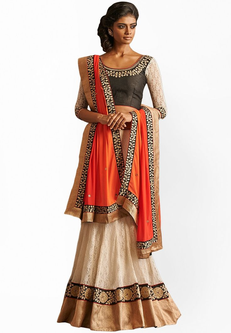 Charming Orange Embroidered Net Saree