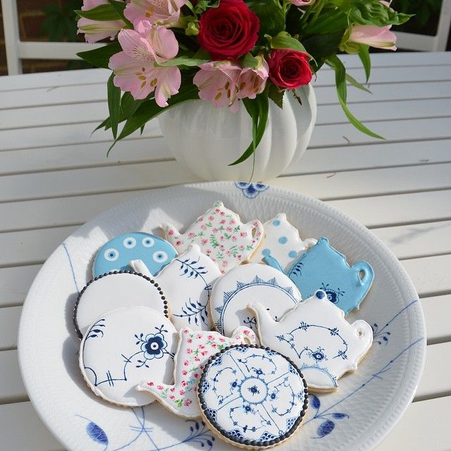 Homemade iced cookies with Royal Copenhagen designs