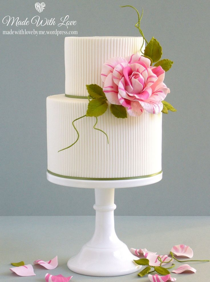 Ribbed Cakes with Pink/white Rose~ Made With Love (by me) | Bespoke Cakes