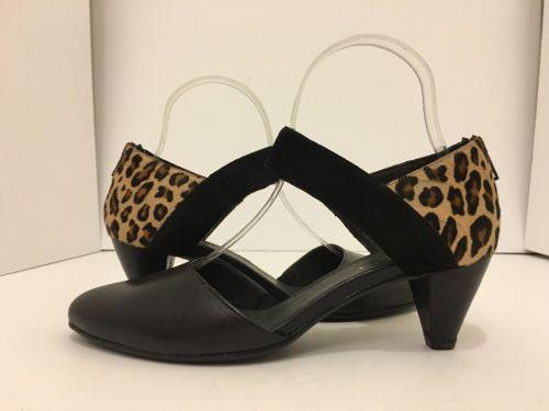 Sesto Meucci Breanne Black Leather Cheetah Hair Print Women's Heels Pumps 8.5 M
