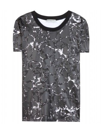 """Balenciaga's unmistakable marbled tee is at the top of every editor's wish list. Topped off with a contrasting black collar, this statement style requires only simple accompaniments to make a major impact."""