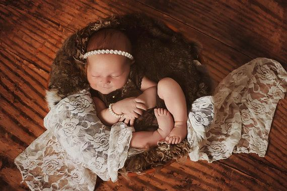 Newborn Romper Baby Girl Outfit White Lace by PITTAphotoprops